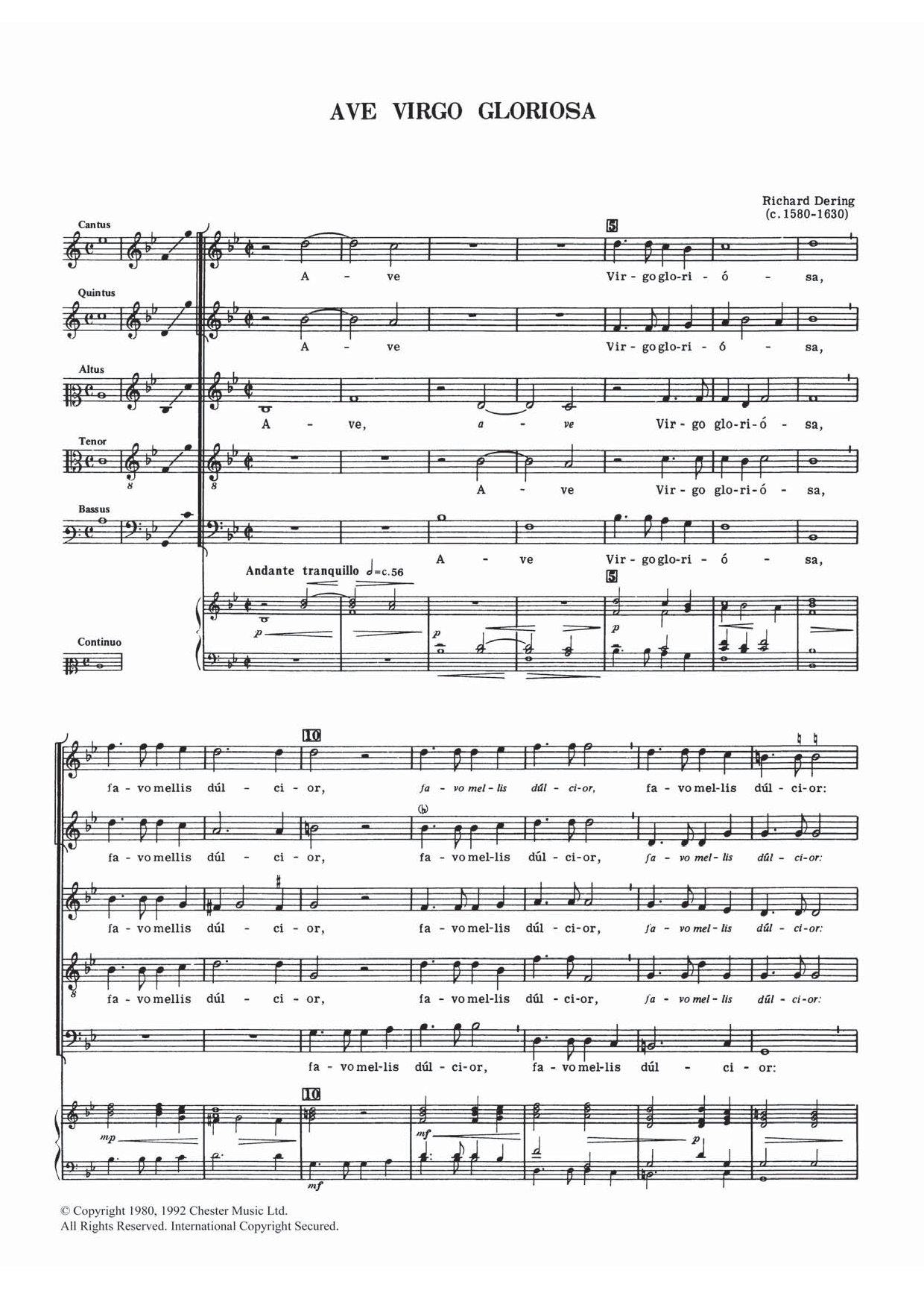Richard Dering - Ave Virgo Gloriosa