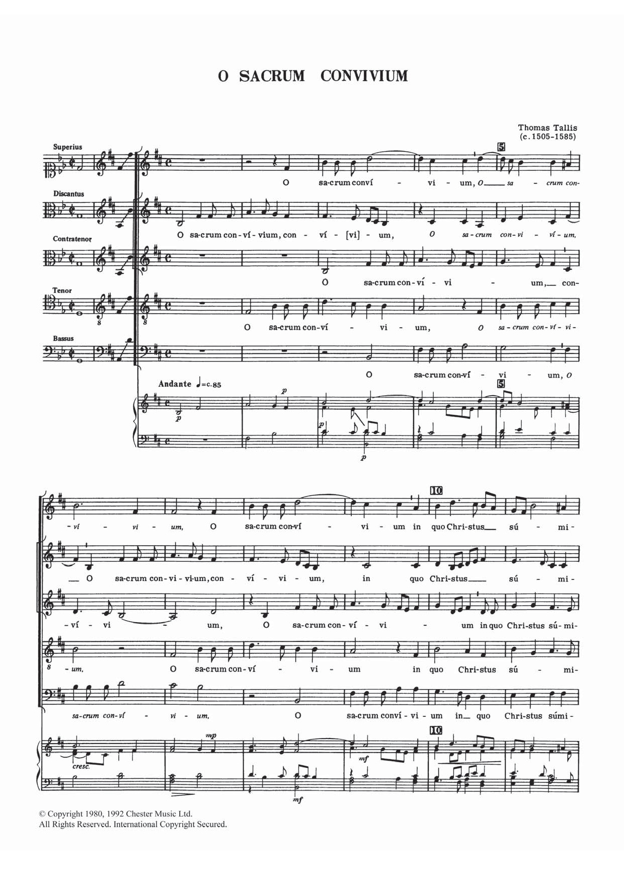 Thomas Tallis - O Sacrum Convivium
