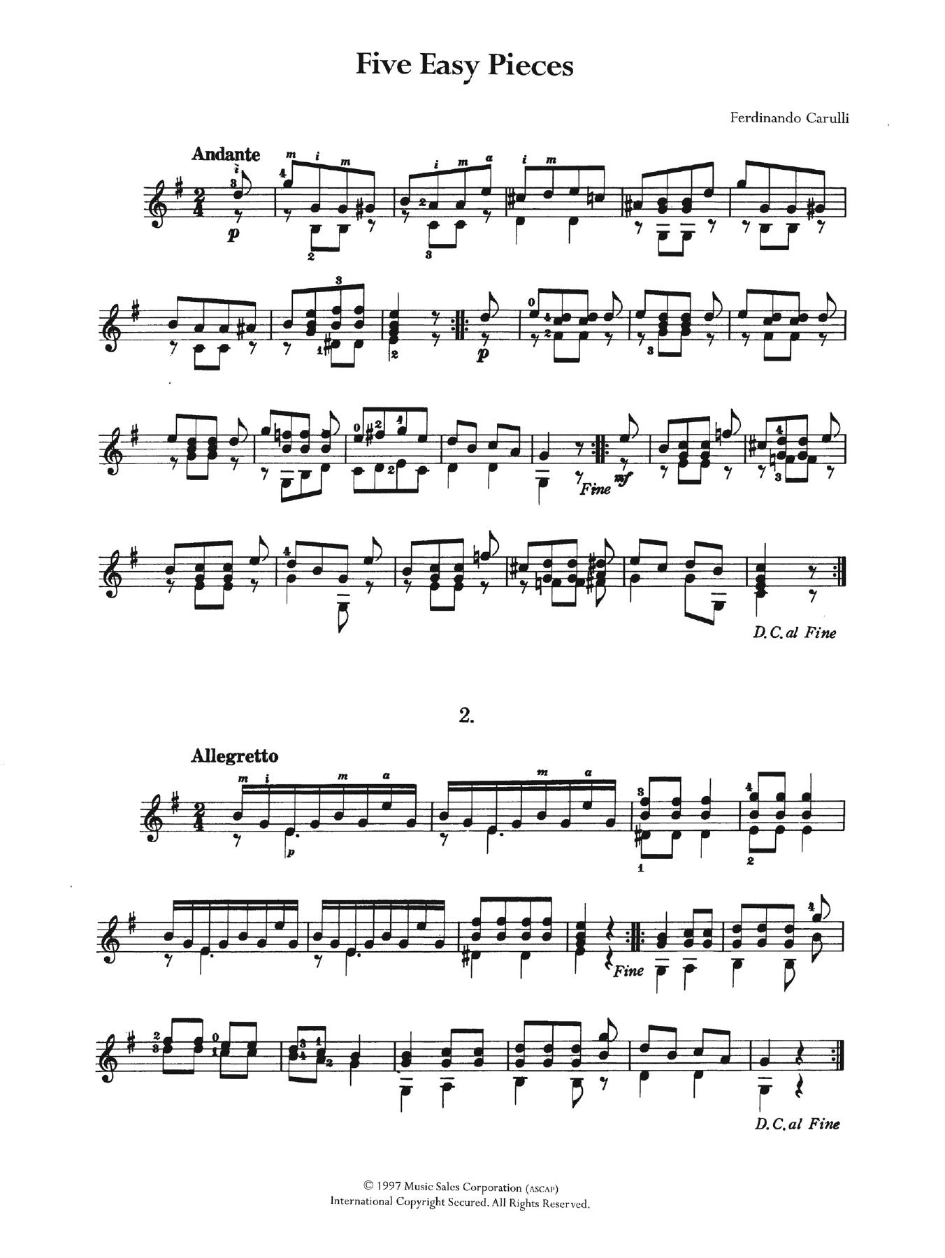 Ferdinando Carulli - Five Easy Pieces