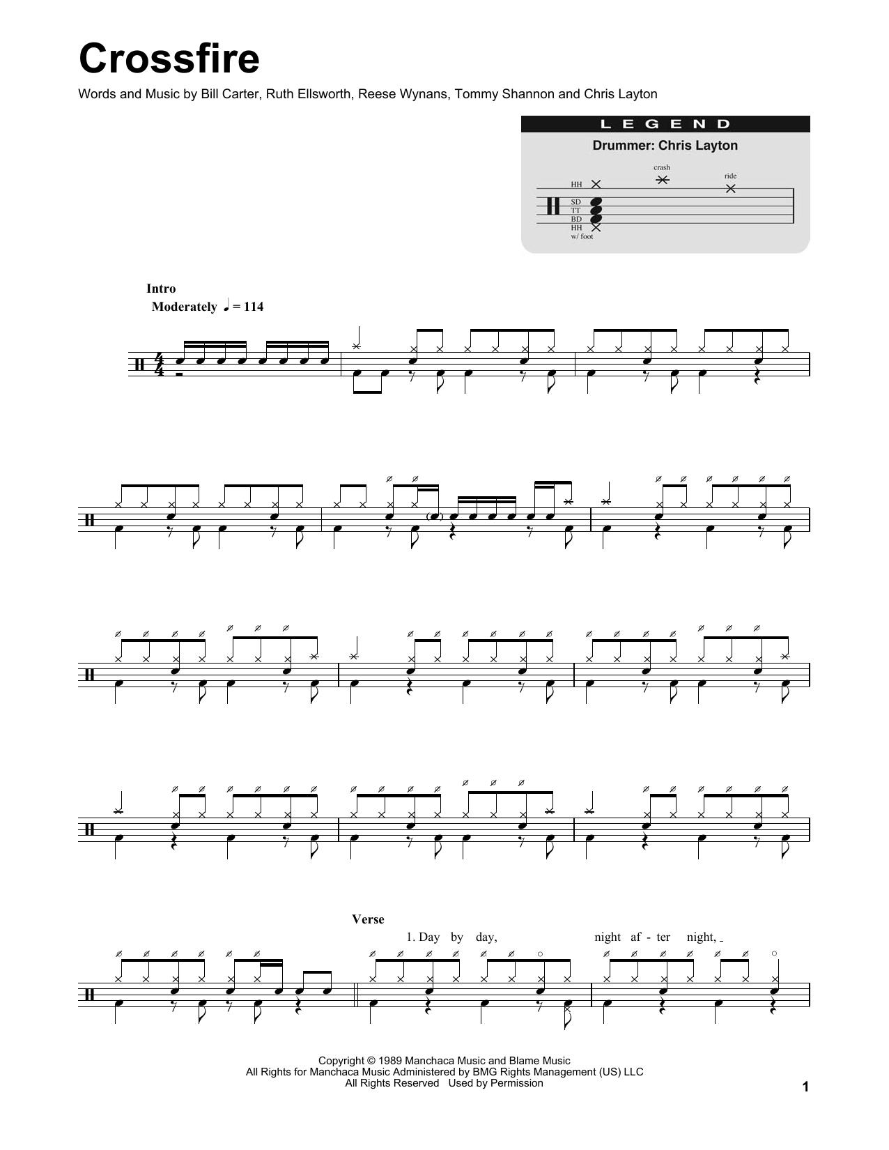 Partition autre Crossfire de Stevie Ray Vaughan - Batterie