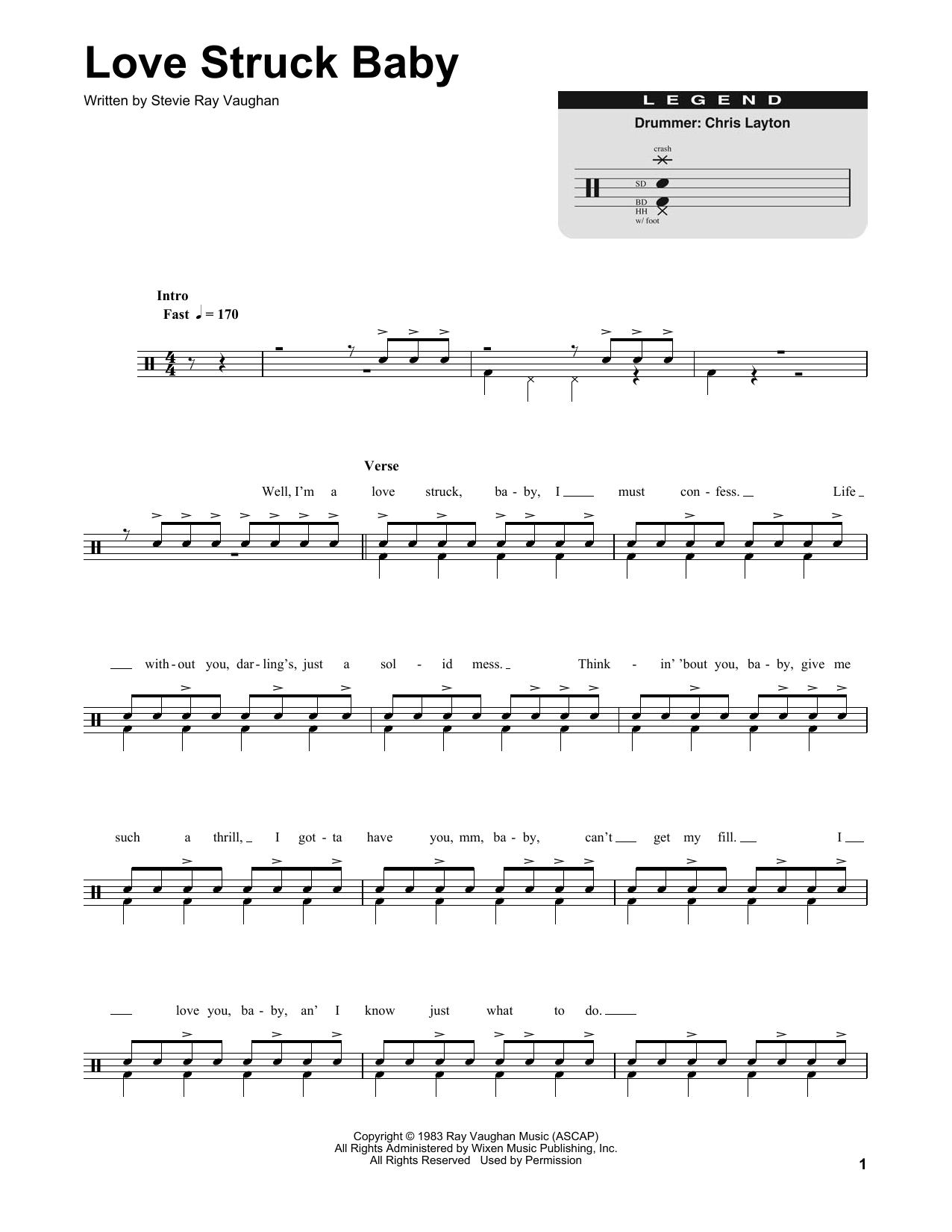 Partition autre Love Struck Baby de Stevie Ray Vaughan - Batterie