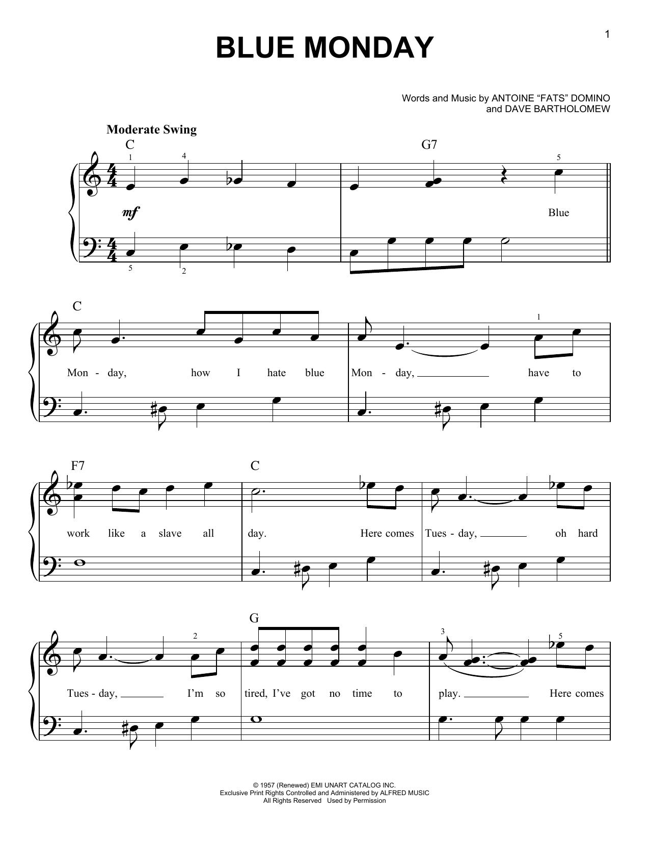 Partition piano Blue Monday de Dave Bartholomew - Piano Facile