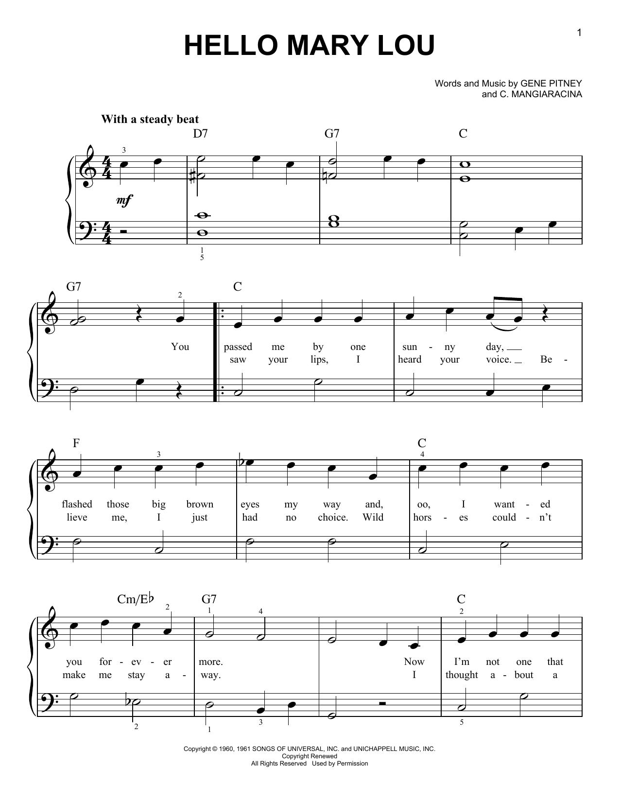 Partition piano Hello Mary Lou de Statler Brothers - Piano Facile