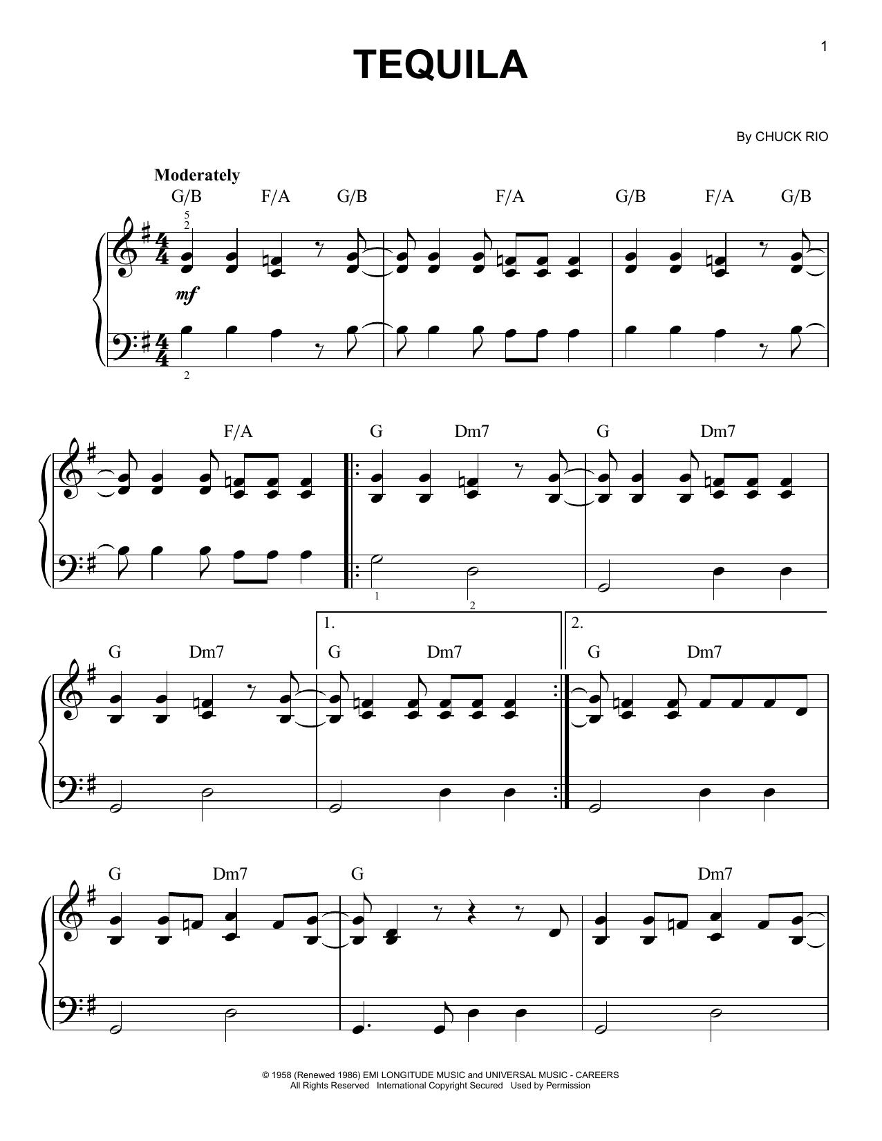 Partition piano Tequila de The Champs - Piano Facile