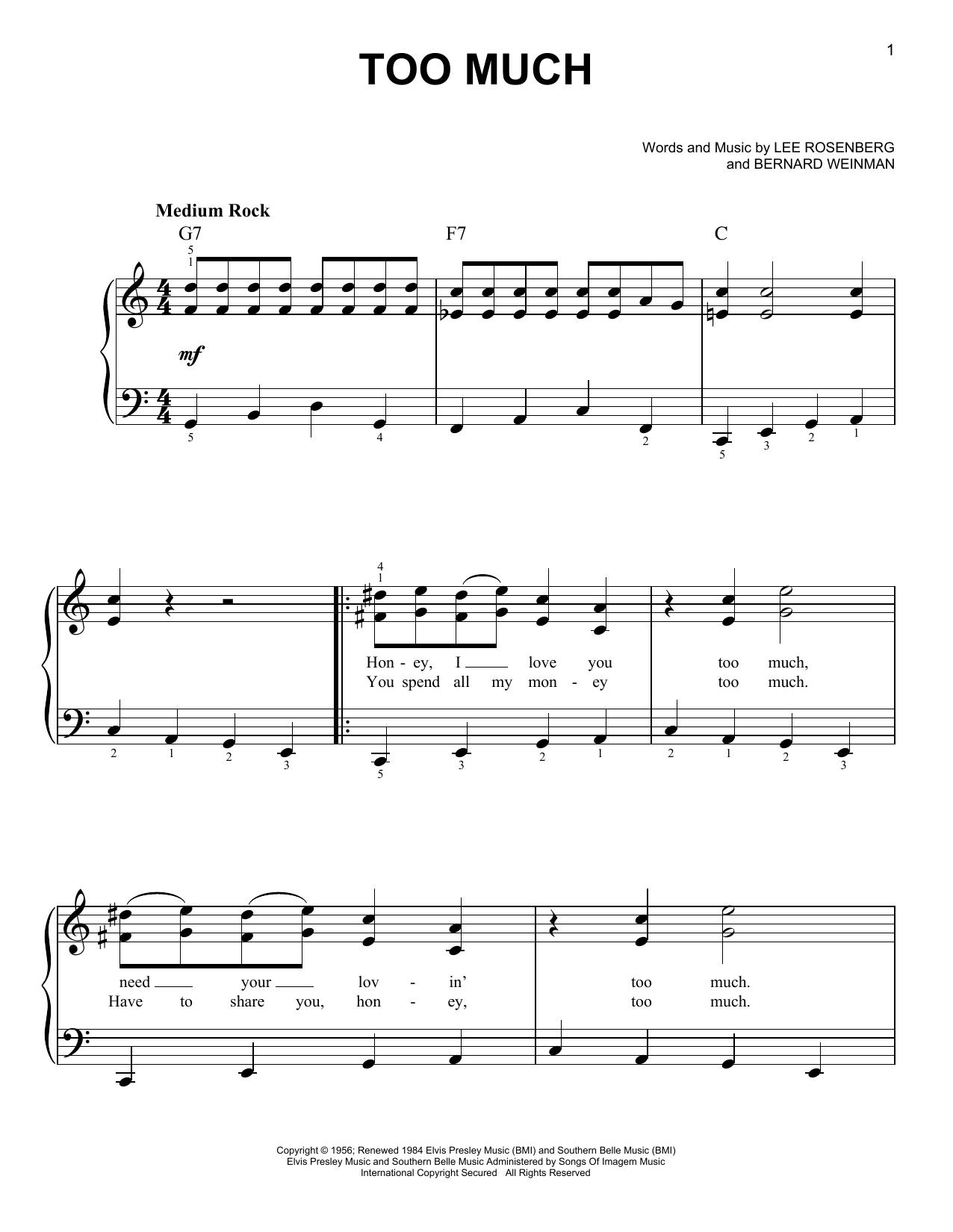Partition piano Too Much de Elvis Presley - Piano Facile