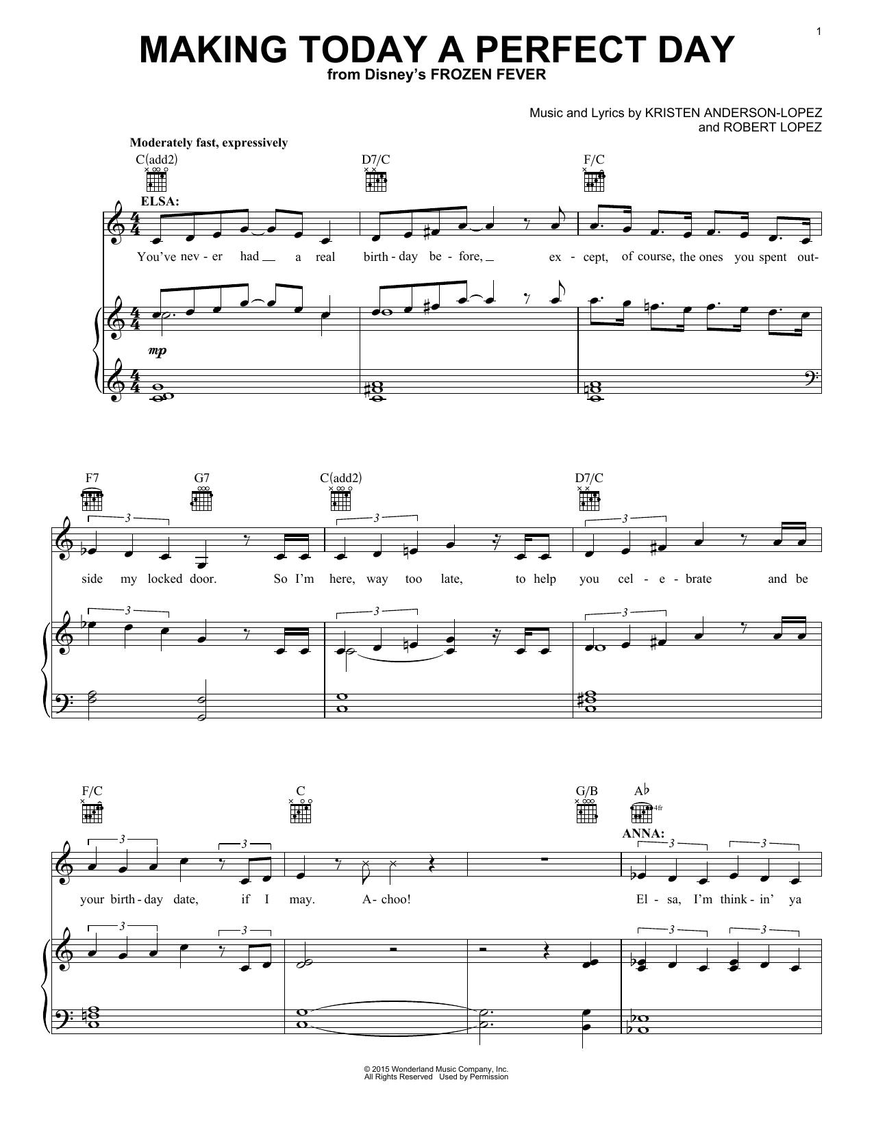 Partition autre Making Today A Perfect Day (from Frozen Fever) de Idina Menzel - Autre