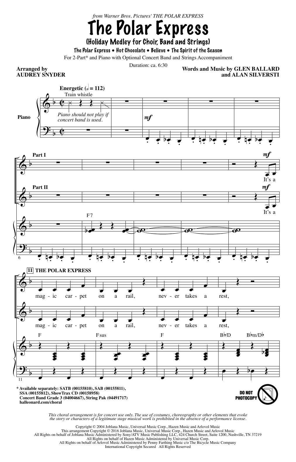 Partition chorale The Polar Express (Holiday Medley) de Alan Silvestri - 2 voix