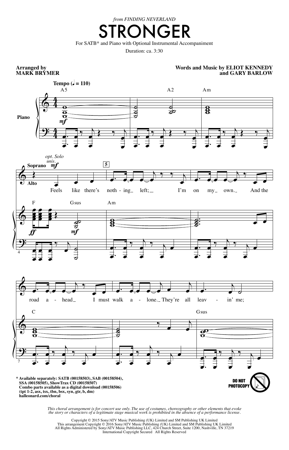 Partition chorale Stronger de Mark Brymer - SATB