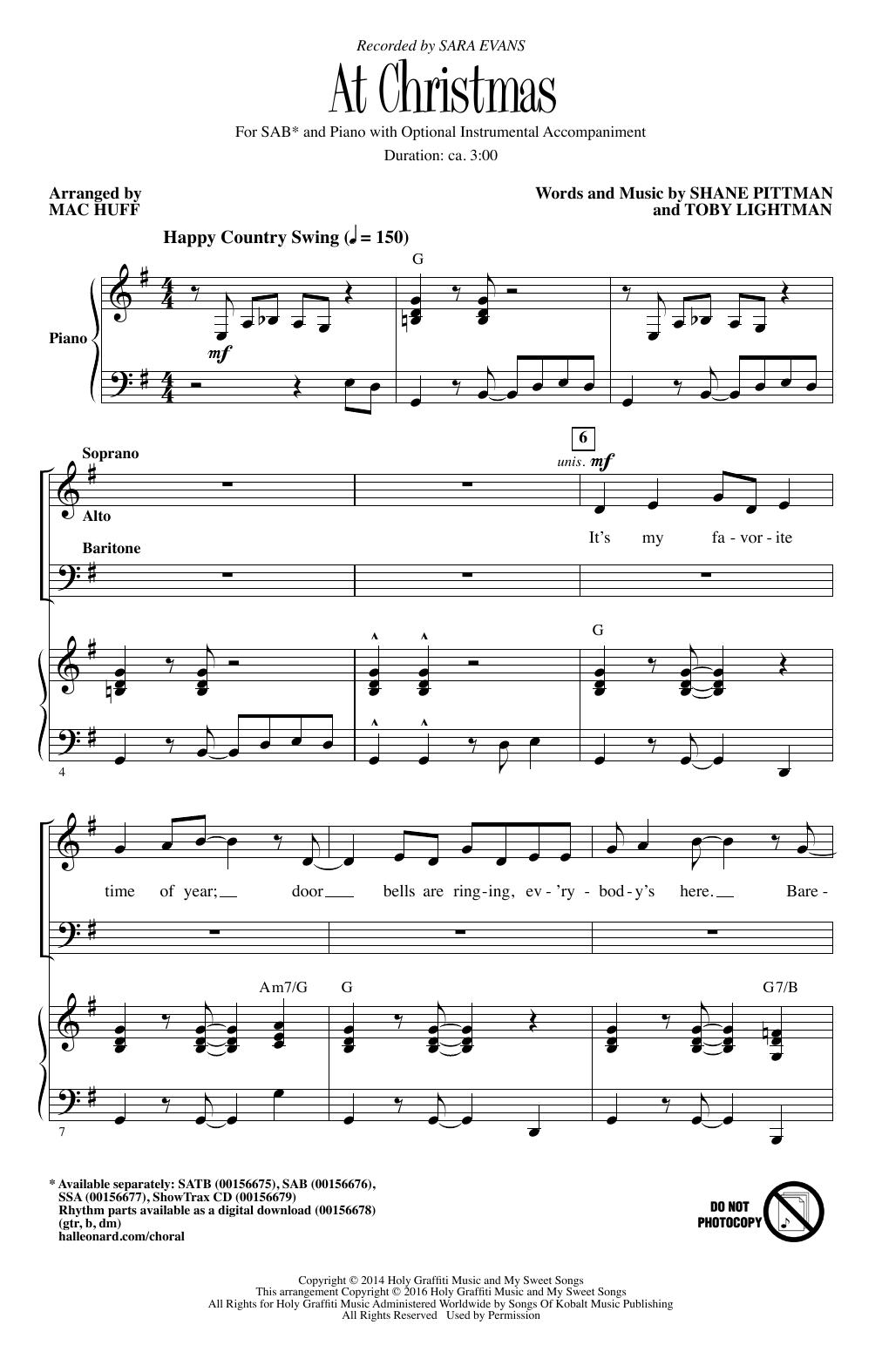 Partition chorale At Christmas de Mac Huff - SAB