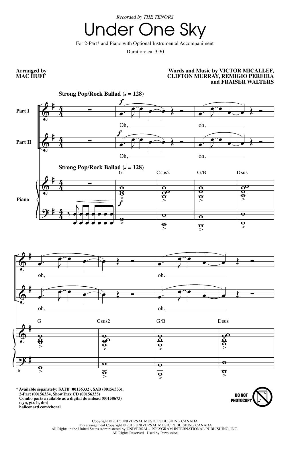 Partition chorale Under One Sky de Mac Huff - 2 voix