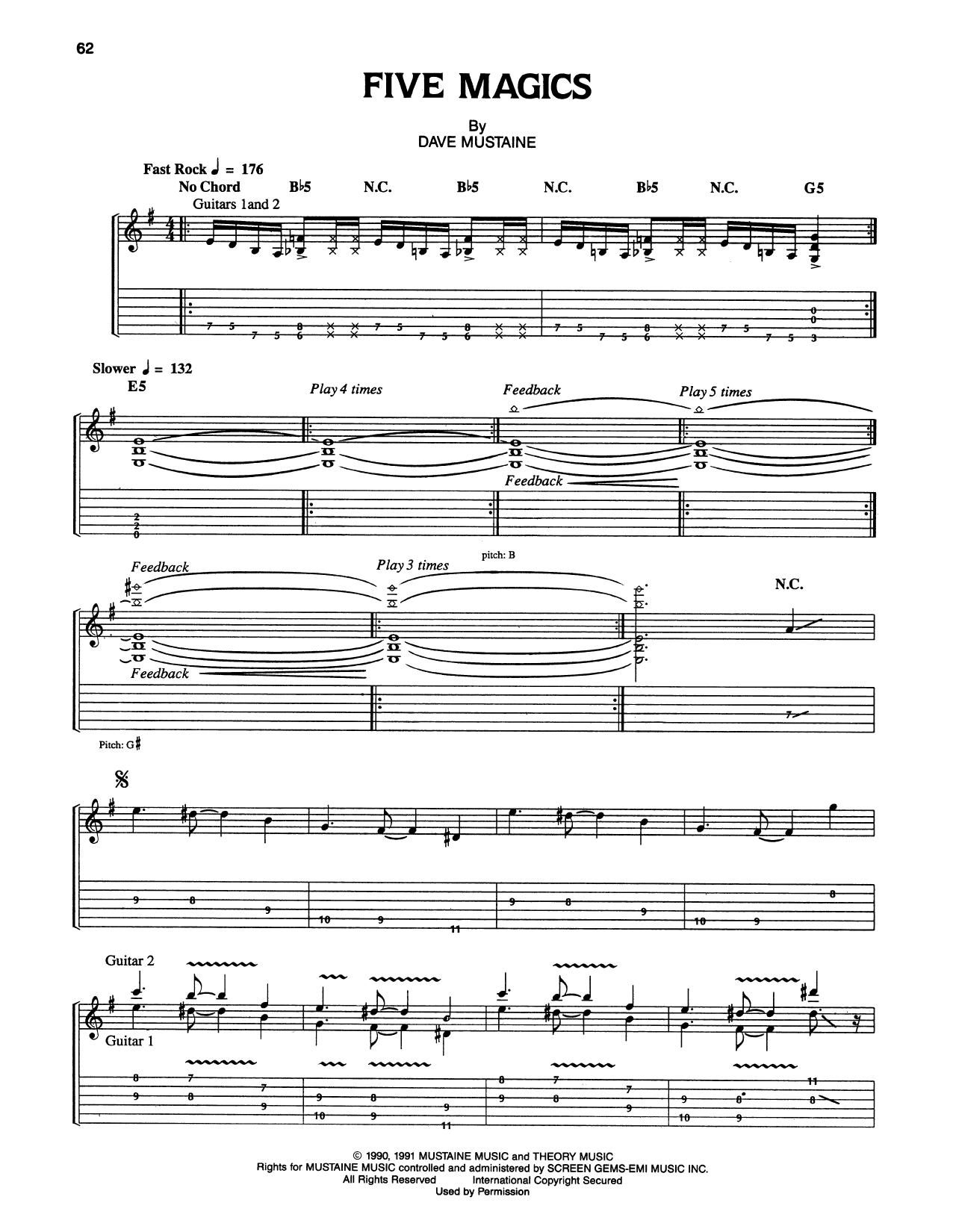 Tablature guitare Five Magics de Megadeth - Tablature Guitare