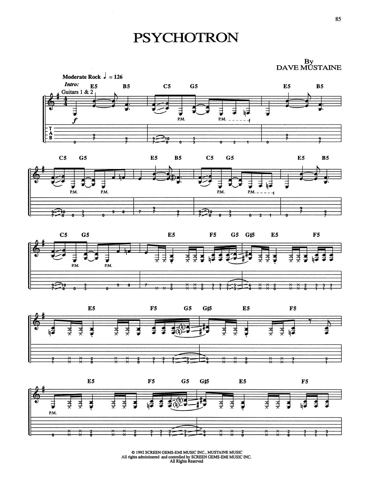 Tablature guitare Psychotron de Megadeth - Tablature Guitare