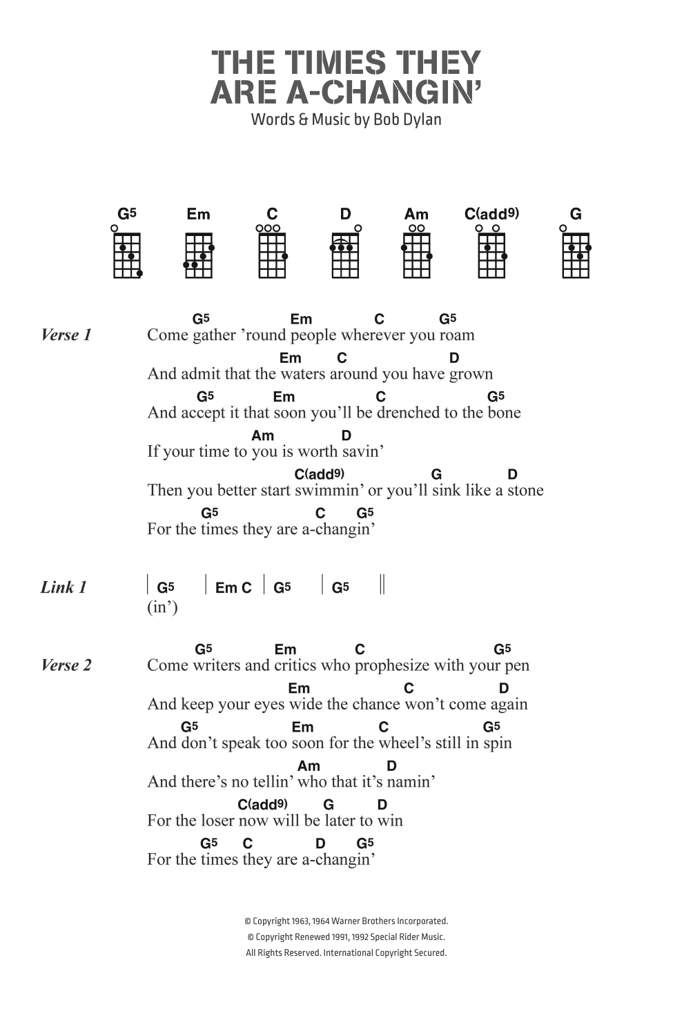 Bob dylan the times they are a changin sheet music at bob dylan the times they are a changin hexwebz Images