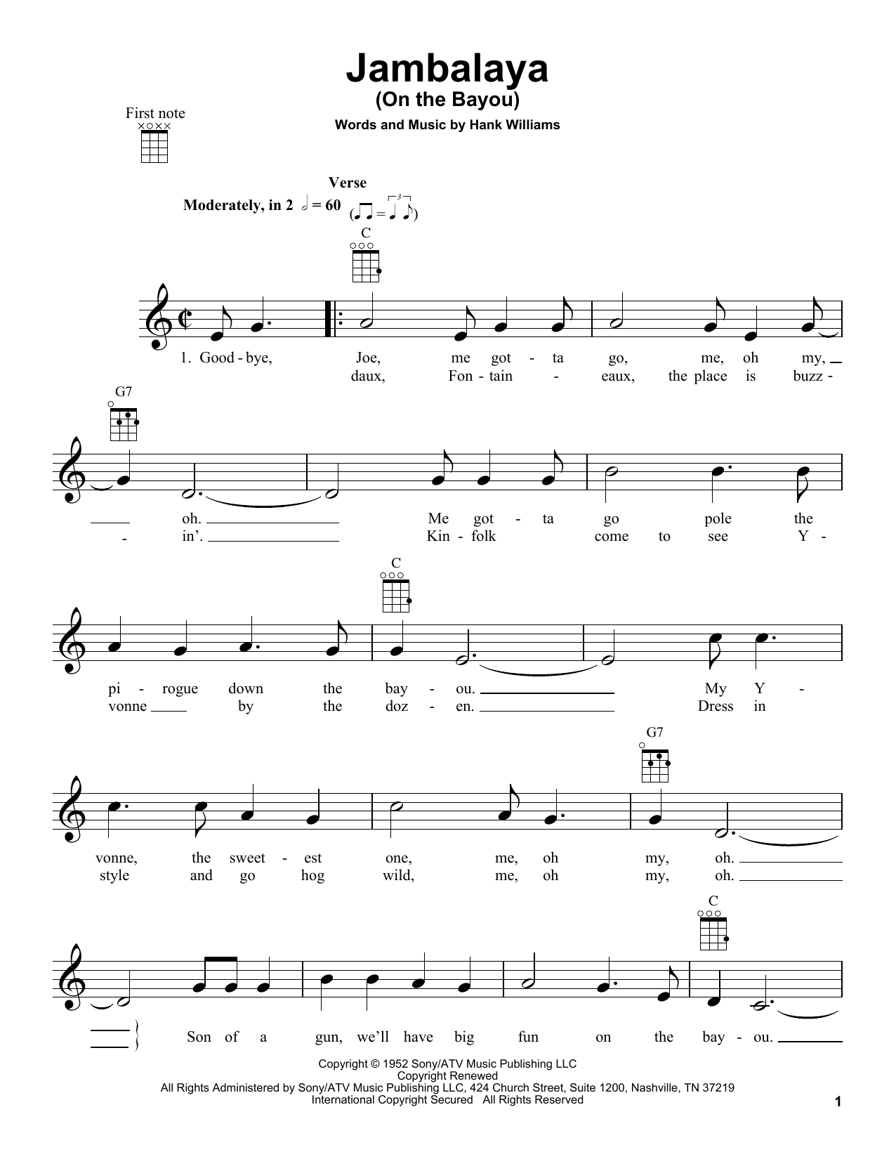 Tablature guitare Jambalaya (On The Bayou) de Hank Williams - Ukulele
