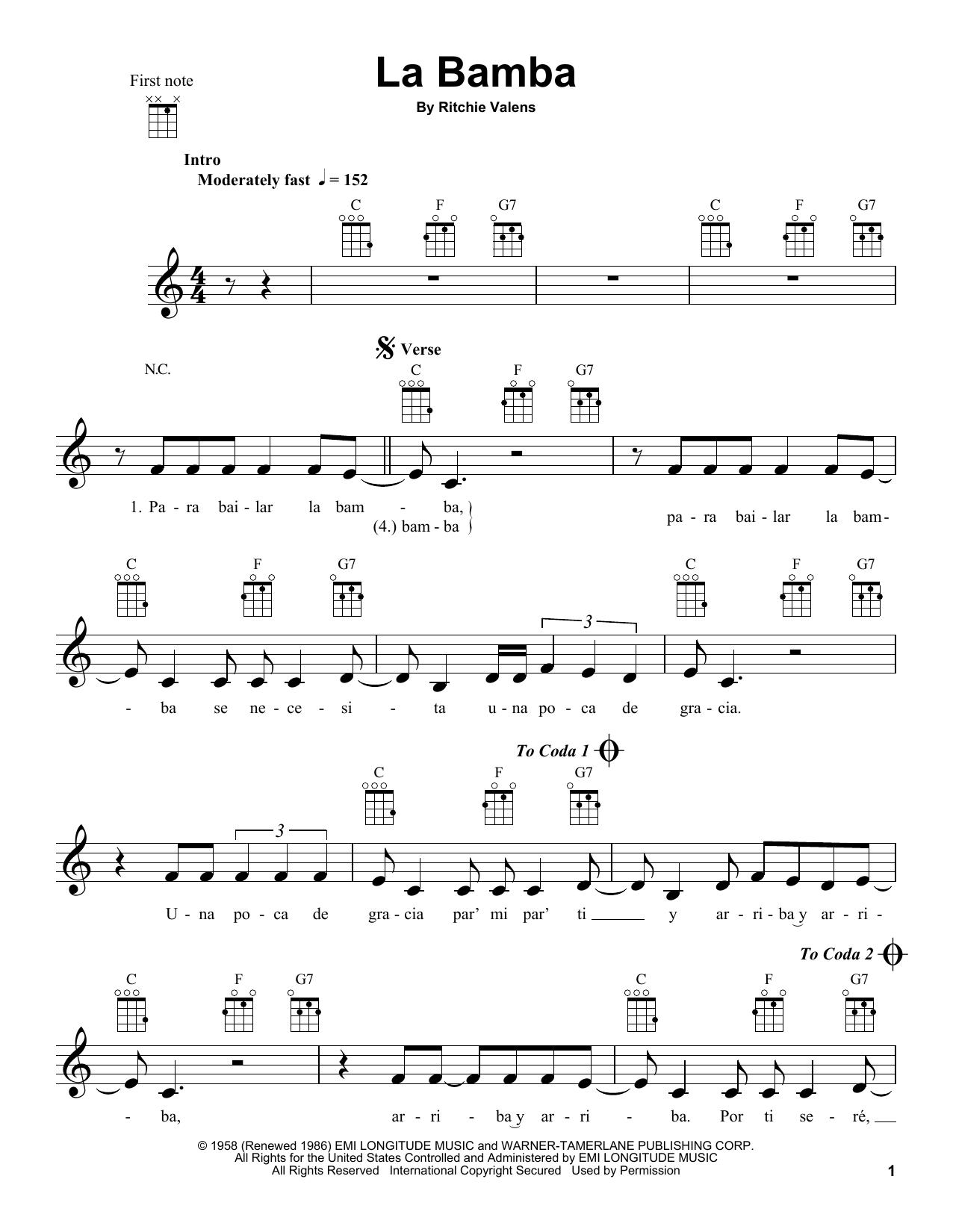 Tablature guitare La Bamba de Ritchie Valens - Ukulele