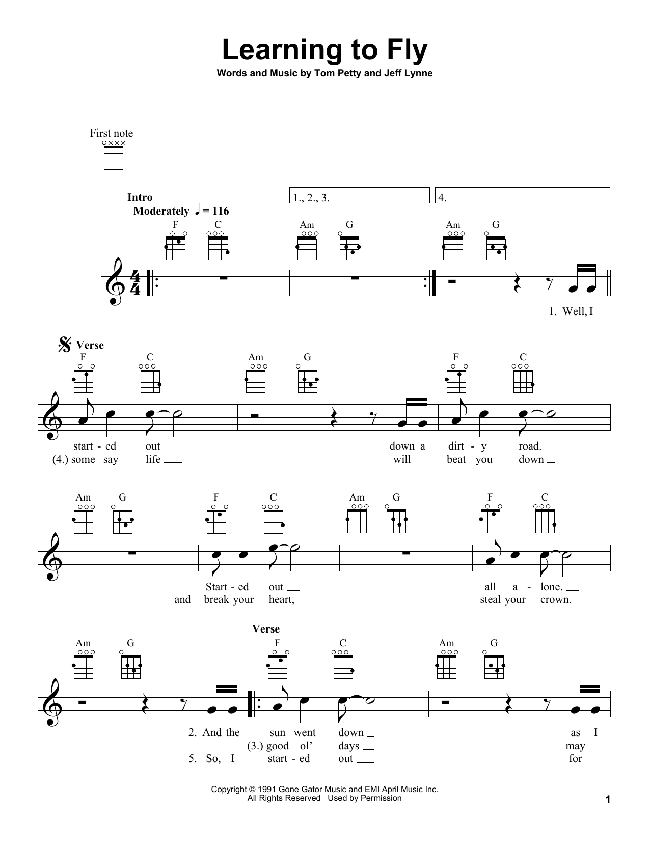 Tablature guitare Learning To Fly de Tom Petty - Ukulele