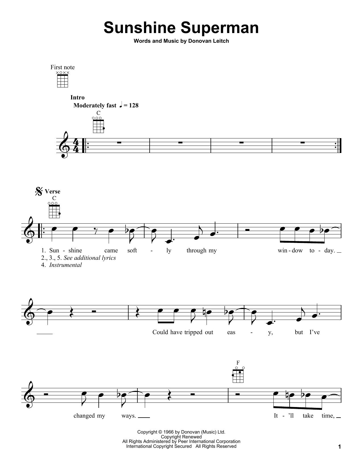 Tablature guitare Sunshine Superman de Donovan - Ukulele
