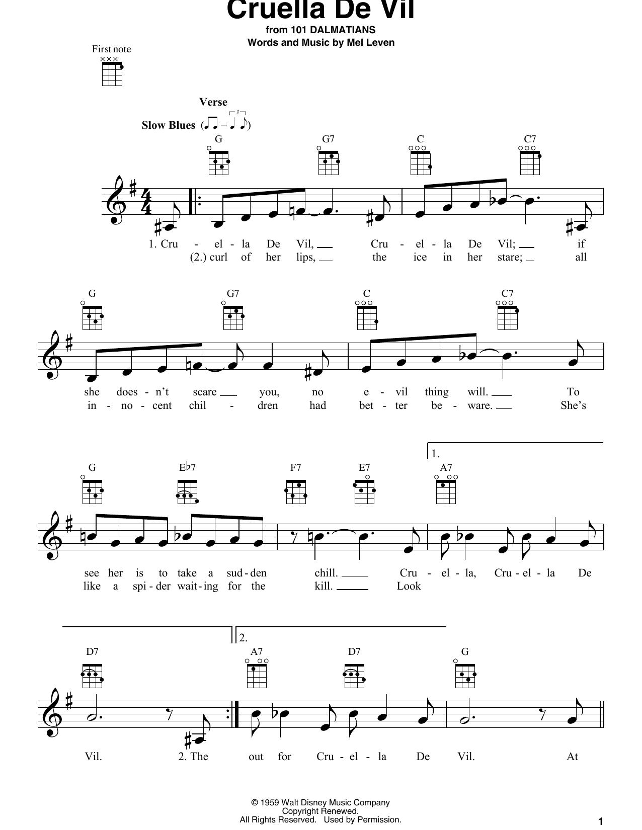 Tablature guitare Cruella De Vil de Mel Leven - Ukulele