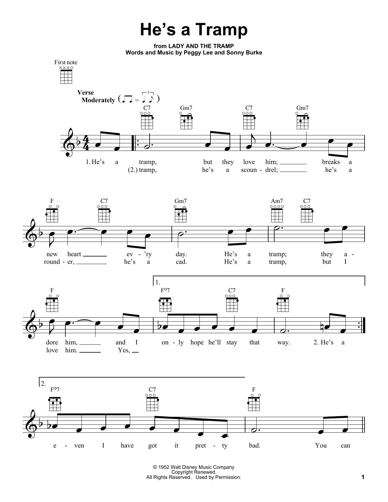 Tablature guitare He's A Tramp de Peggy Lee - Ukulele