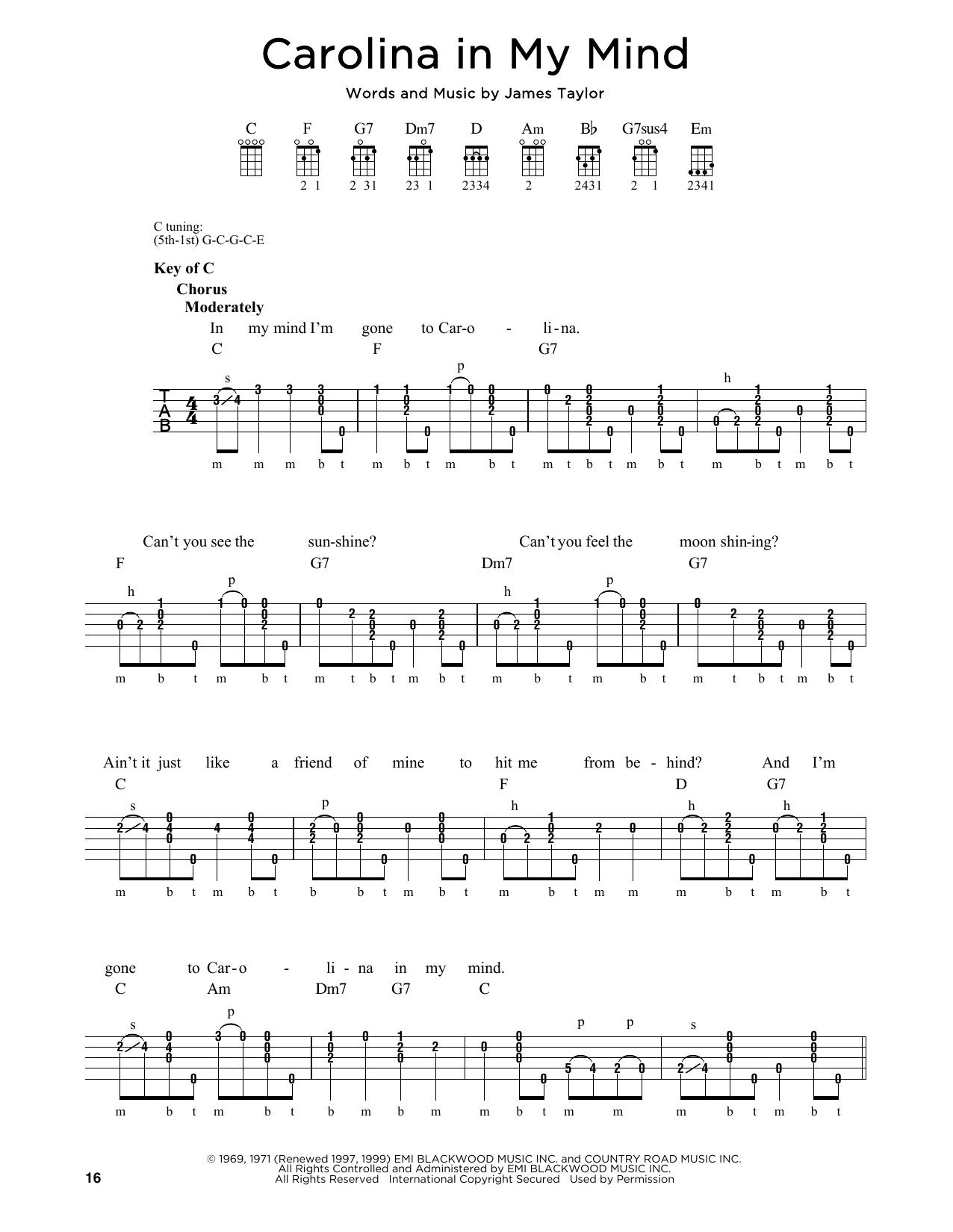 Partition autre Carolina In My Mind de James Taylor - Autre