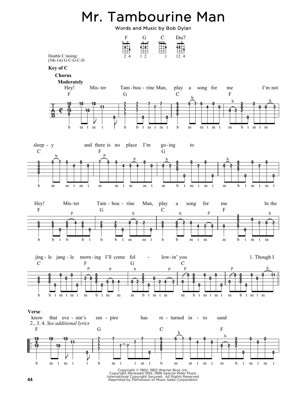 Partition autre Mr. Tambourine Man de Bob Dylan - Autre