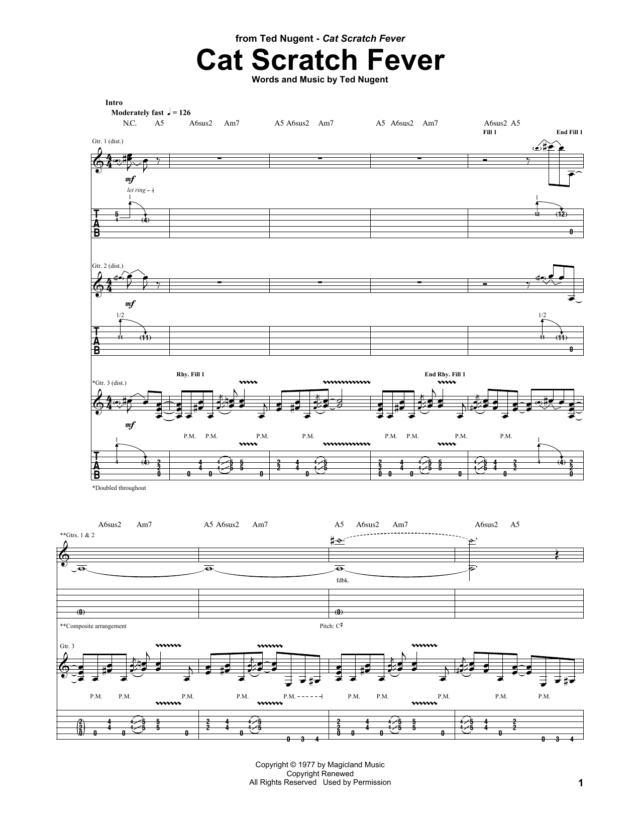 Tablature guitare Cat Scratch Fever de Ted Nugent - Tablature Guitare