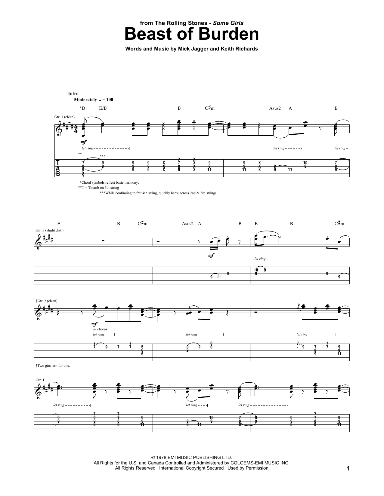 Tablature guitare Beast Of Burden de The Rolling Stones - Tablature Guitare