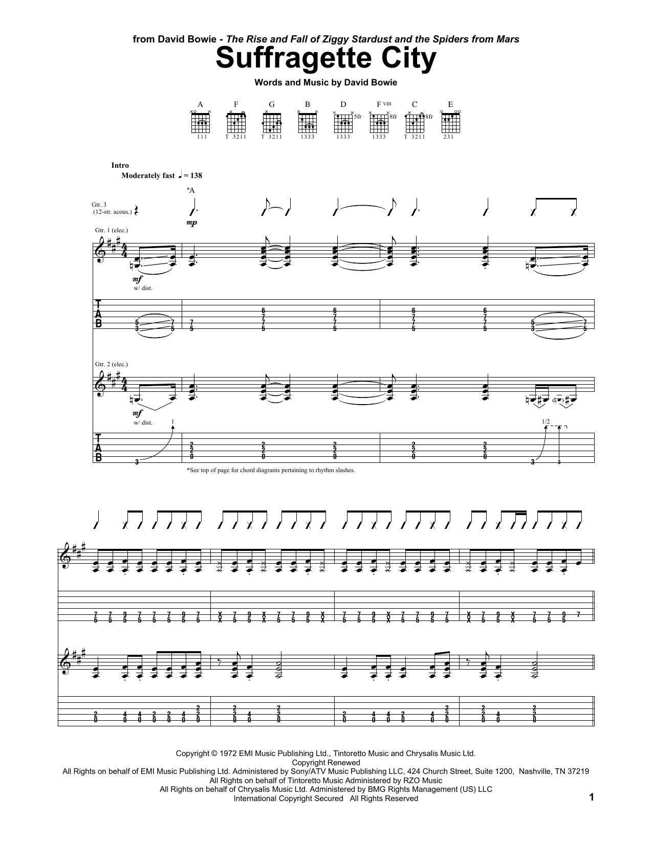 Tablature guitare Suffragette City de David Bowie - Tablature Guitare