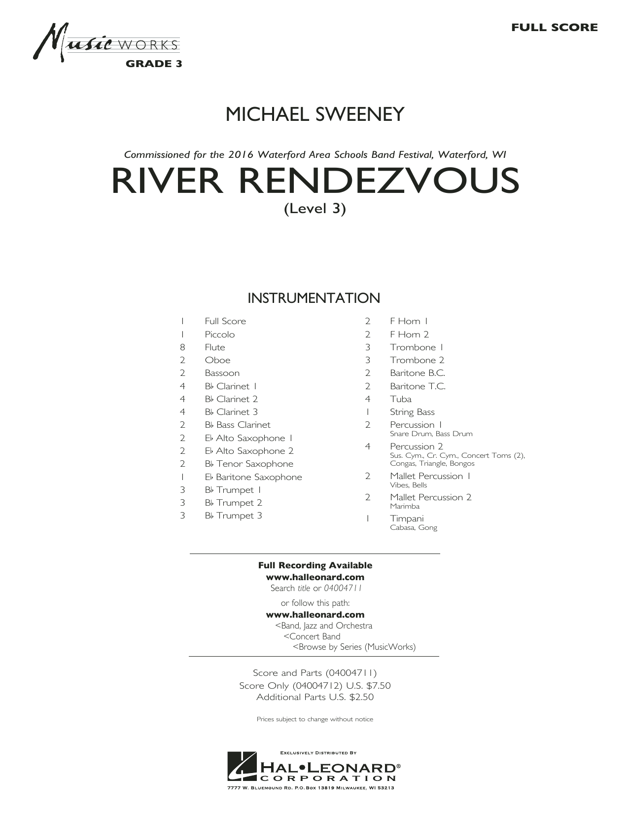 River Rendezvous (COMPLETE) sheet music for concert band by Michael Sweeney