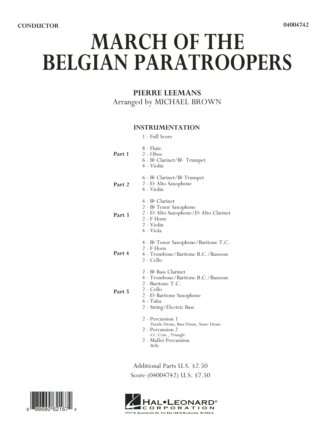 March of the Belgian Paratroopers (COMPLETE) sheet music for concert band by Michael Brown