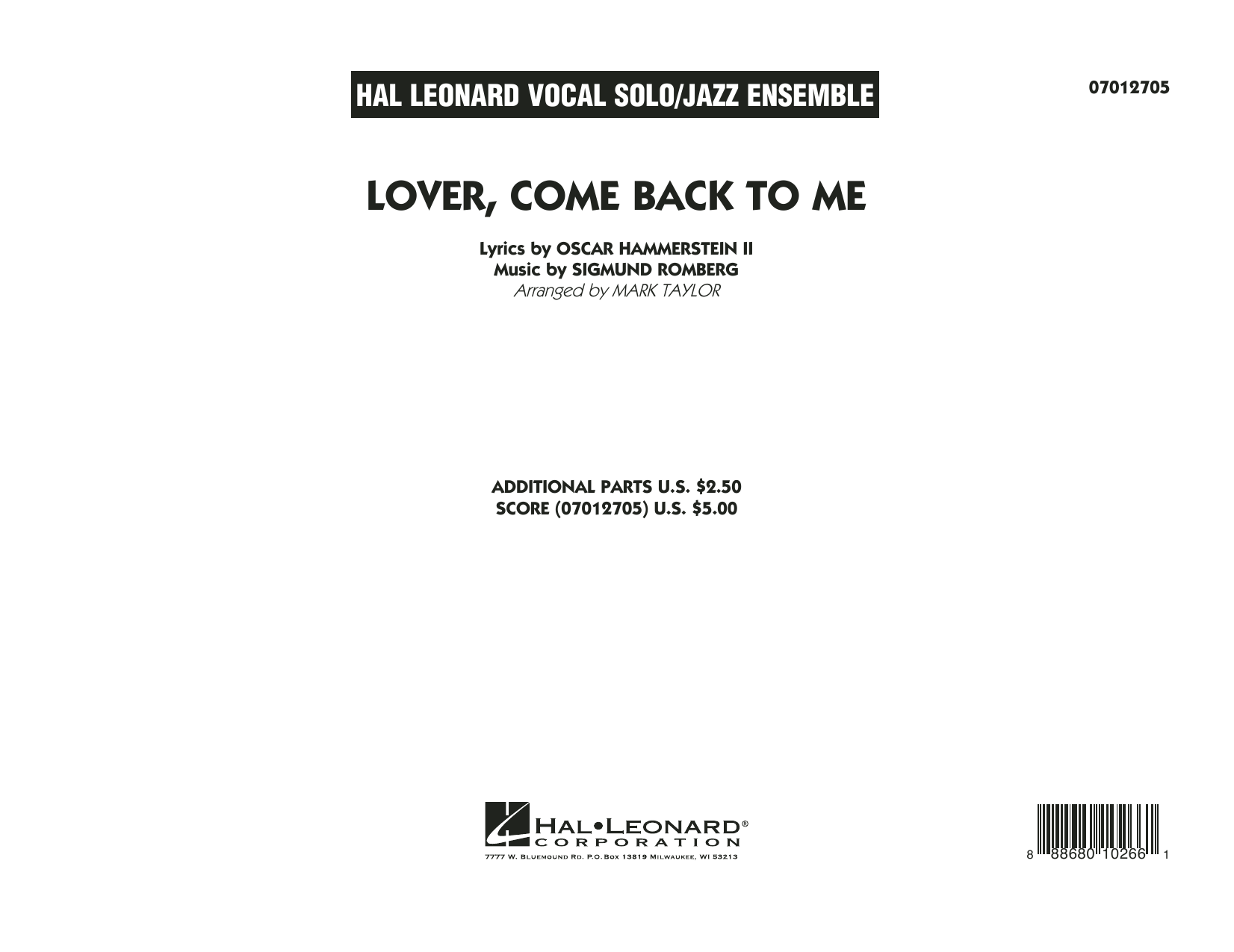 Lover Come Back to Me (Key: B-Flat) - Conductor Score (Full Score)
