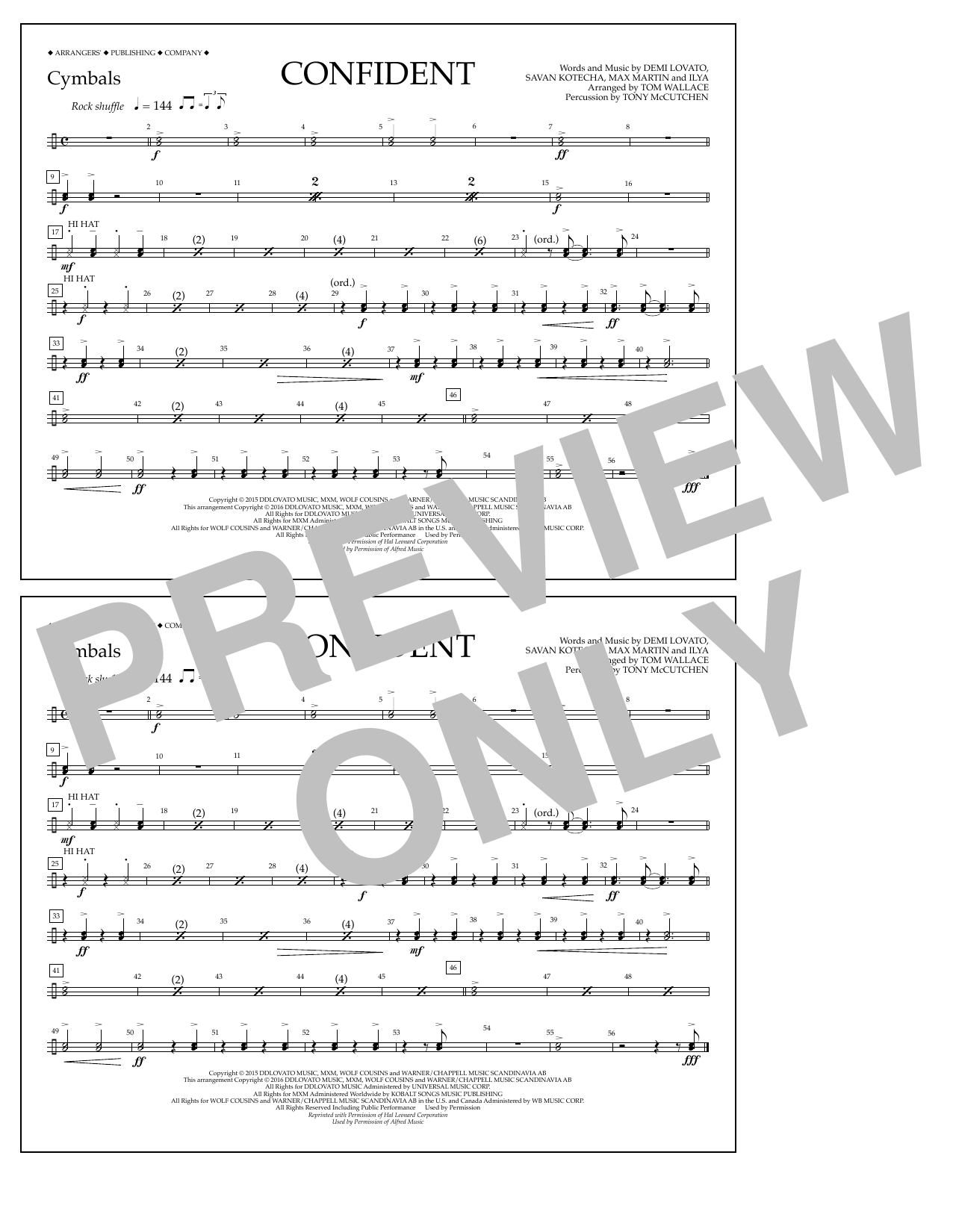 Sheet music digital files to print licensed demi lovato digital confident cymbals hexwebz Images