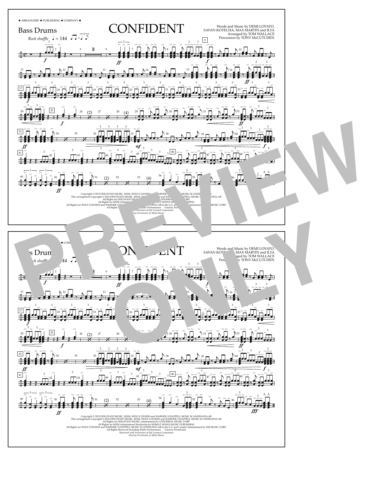 Sheet music digital files to print licensed demi lovato digital confident bass drums hexwebz Gallery