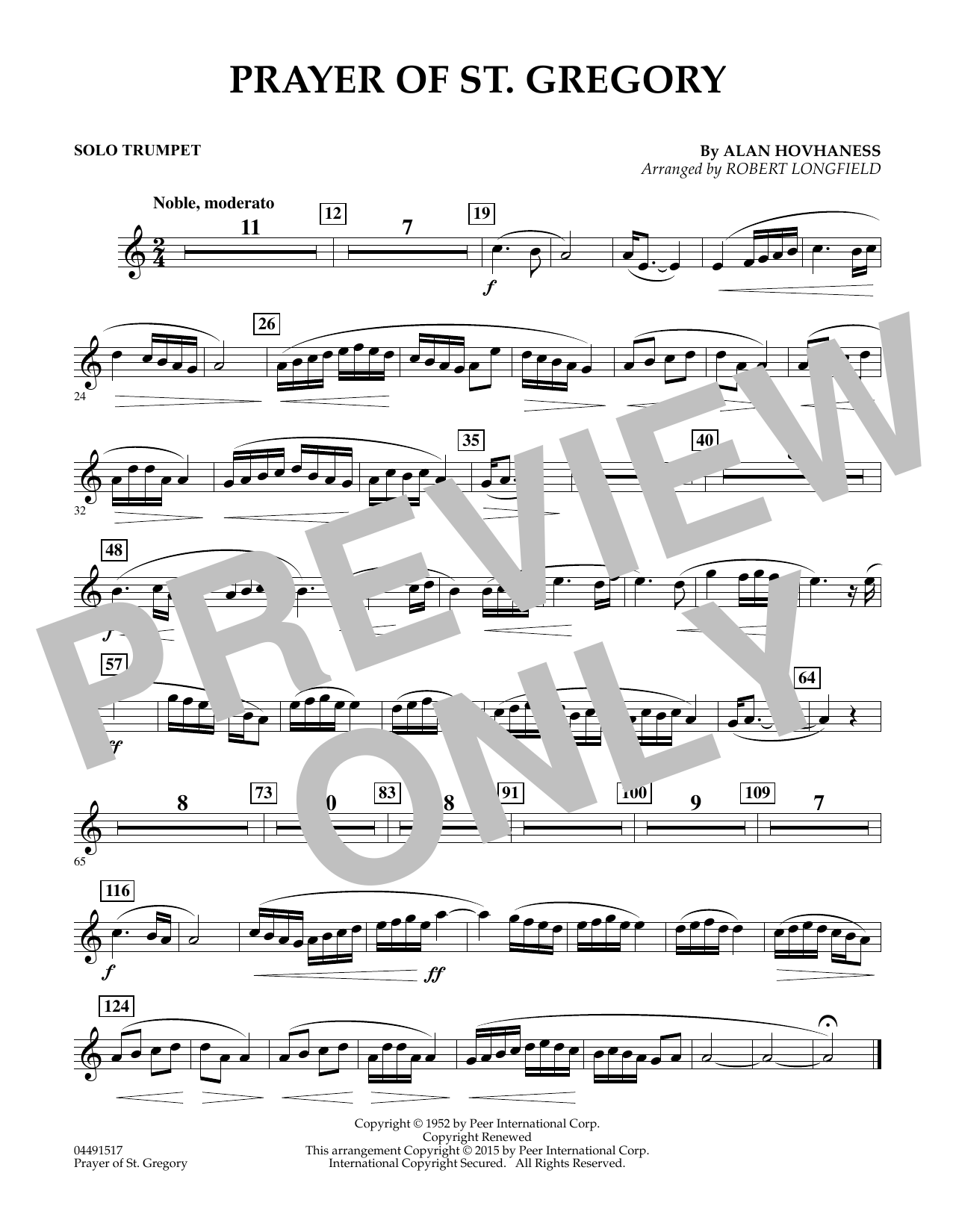 Prayer of St. Gregory (Educational Edition) - Solo Bb Trumpet