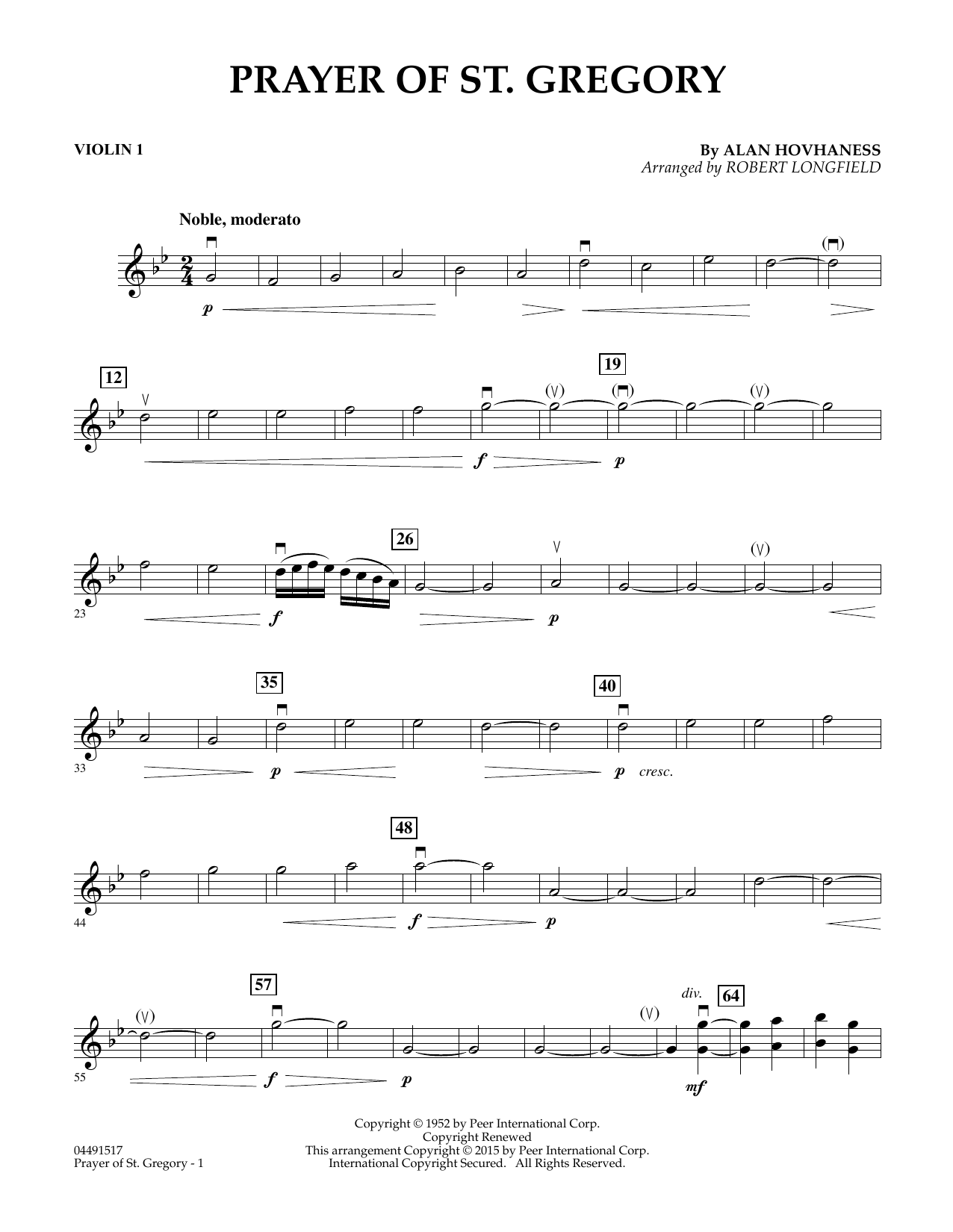 Prayer of St. Gregory (Educational Edition) - Violin 1