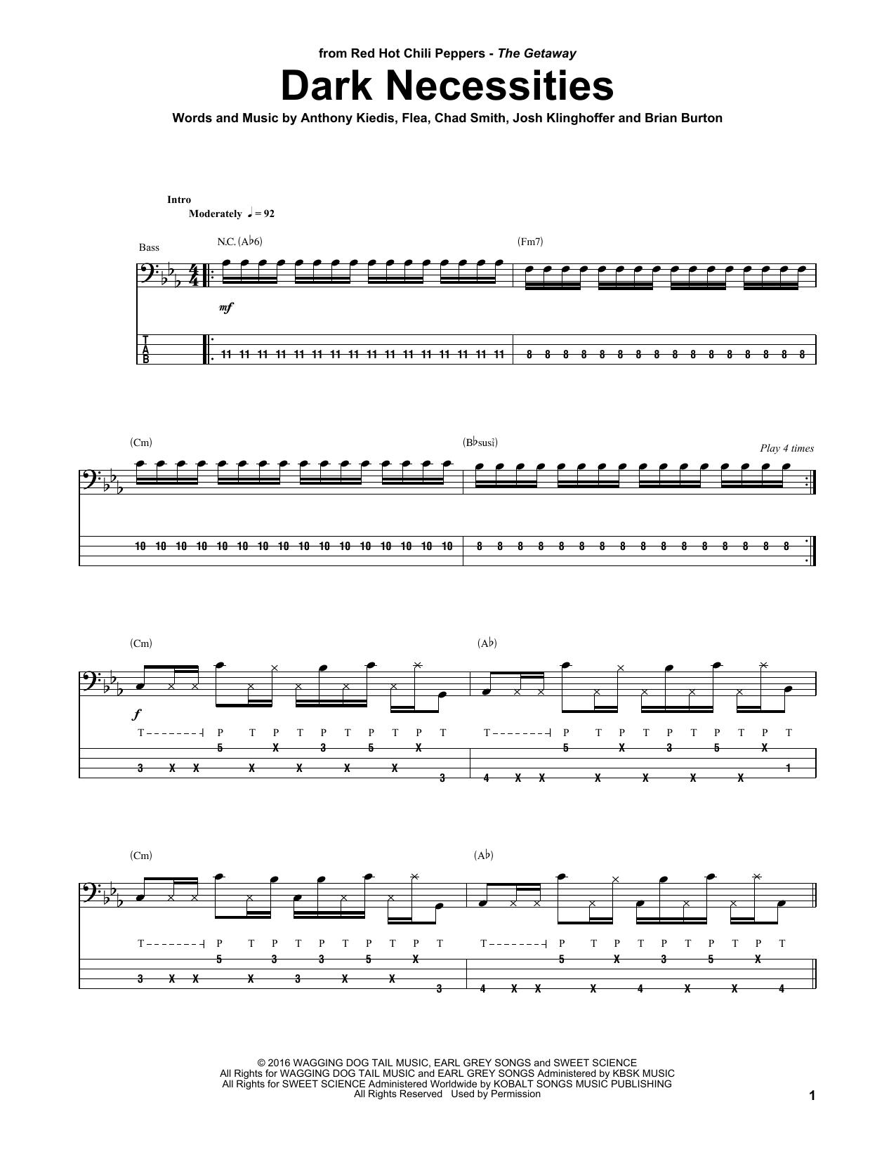 Tablature guitare Dark Necessities de Red Hot Chili Peppers - Tablature Basse