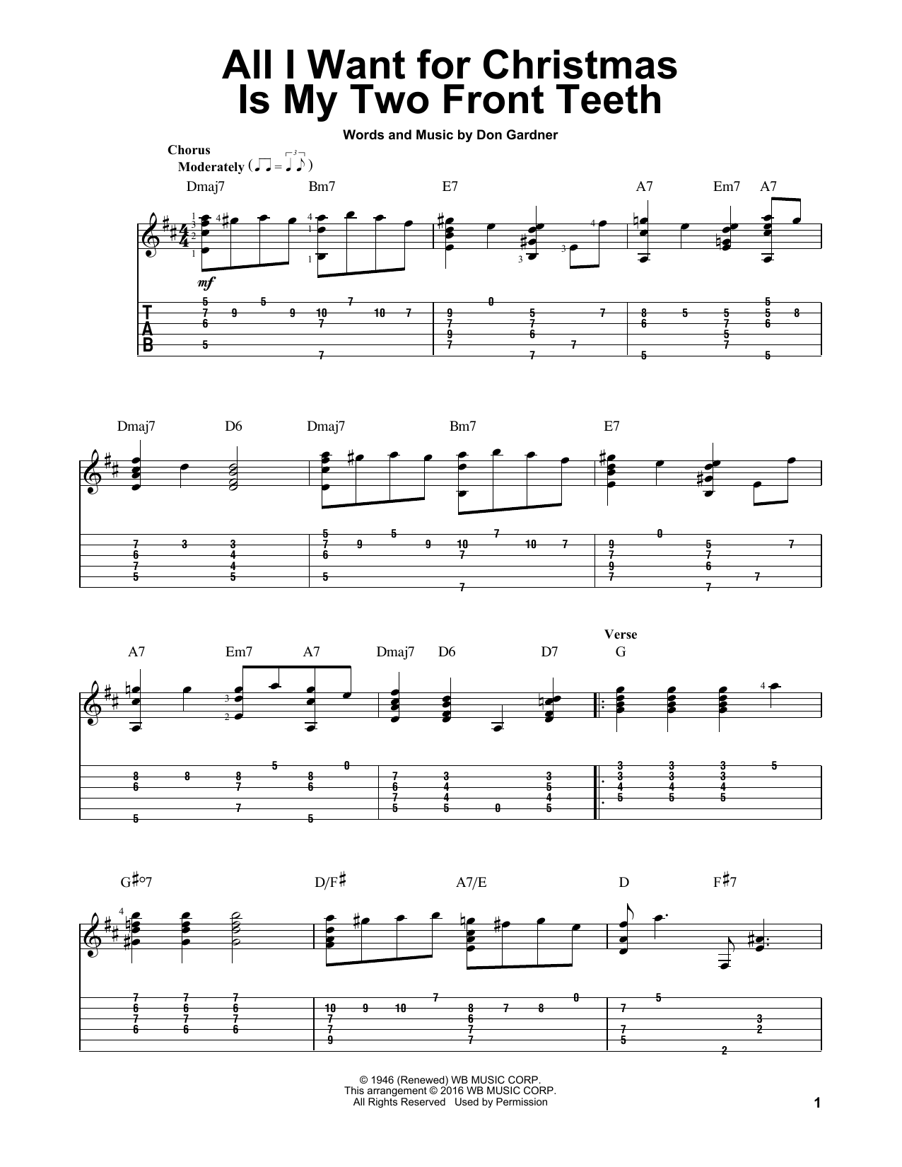 Tablature guitare All I Want For Christmas Is My Two Front Teeth de Spike Jones and his City Slickers - Tablature Guitare