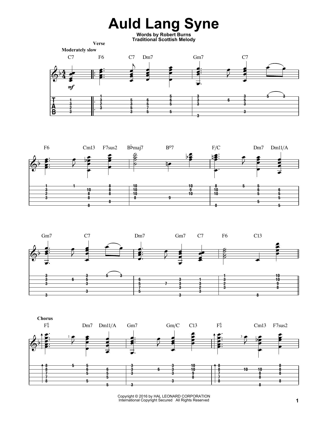 Tablature guitare Auld Lang Syne de Robert Burns - Tablature Guitare