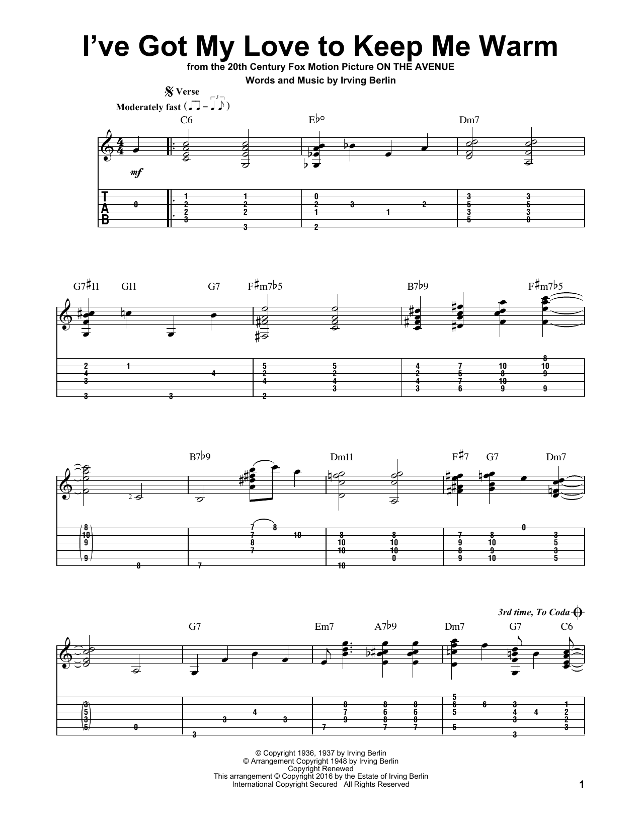 Tablature guitare I've Got My Love To Keep Me Warm de Irving Berlin - Tablature Guitare