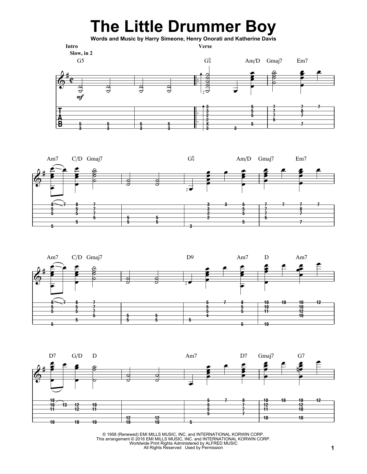 Tablature guitare The Little Drummer Boy de Katherine Davis - Tablature Guitare