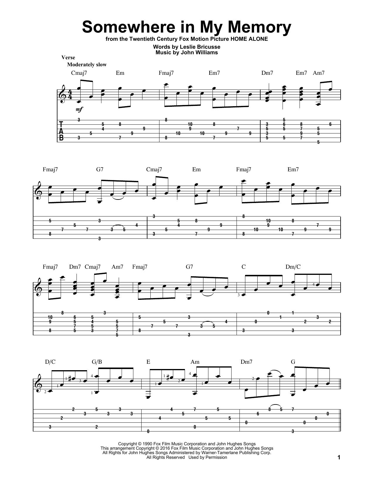 Tablature guitare Somewhere In My Memory de John Williams - Tablature Guitare