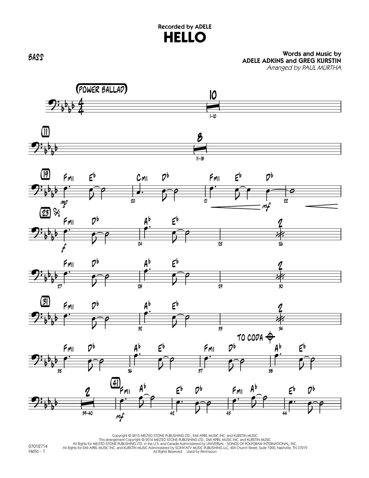 Adele Adkins - Hello - Bass