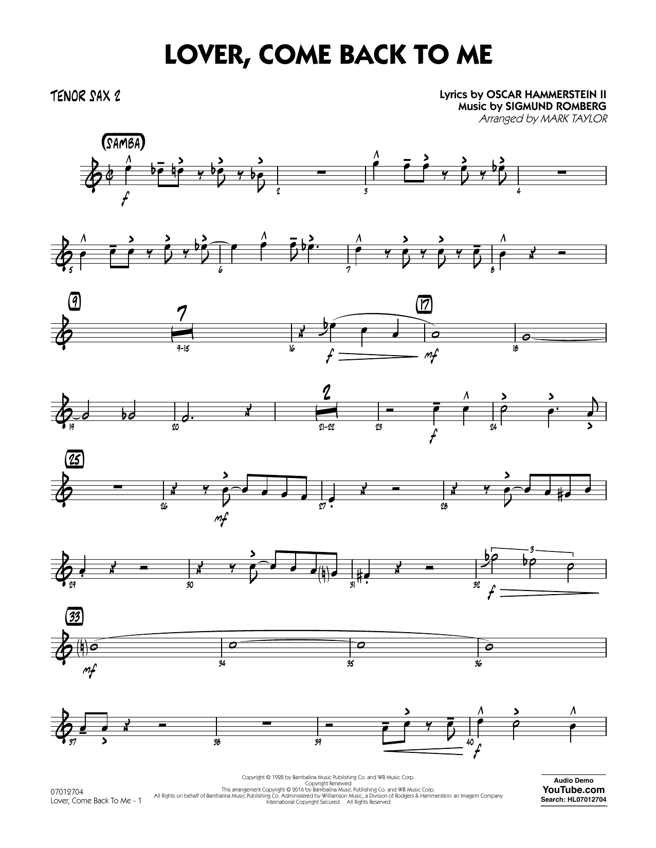 Lover Come Back to Me (Key: B-Flat) - Tenor Sax 2