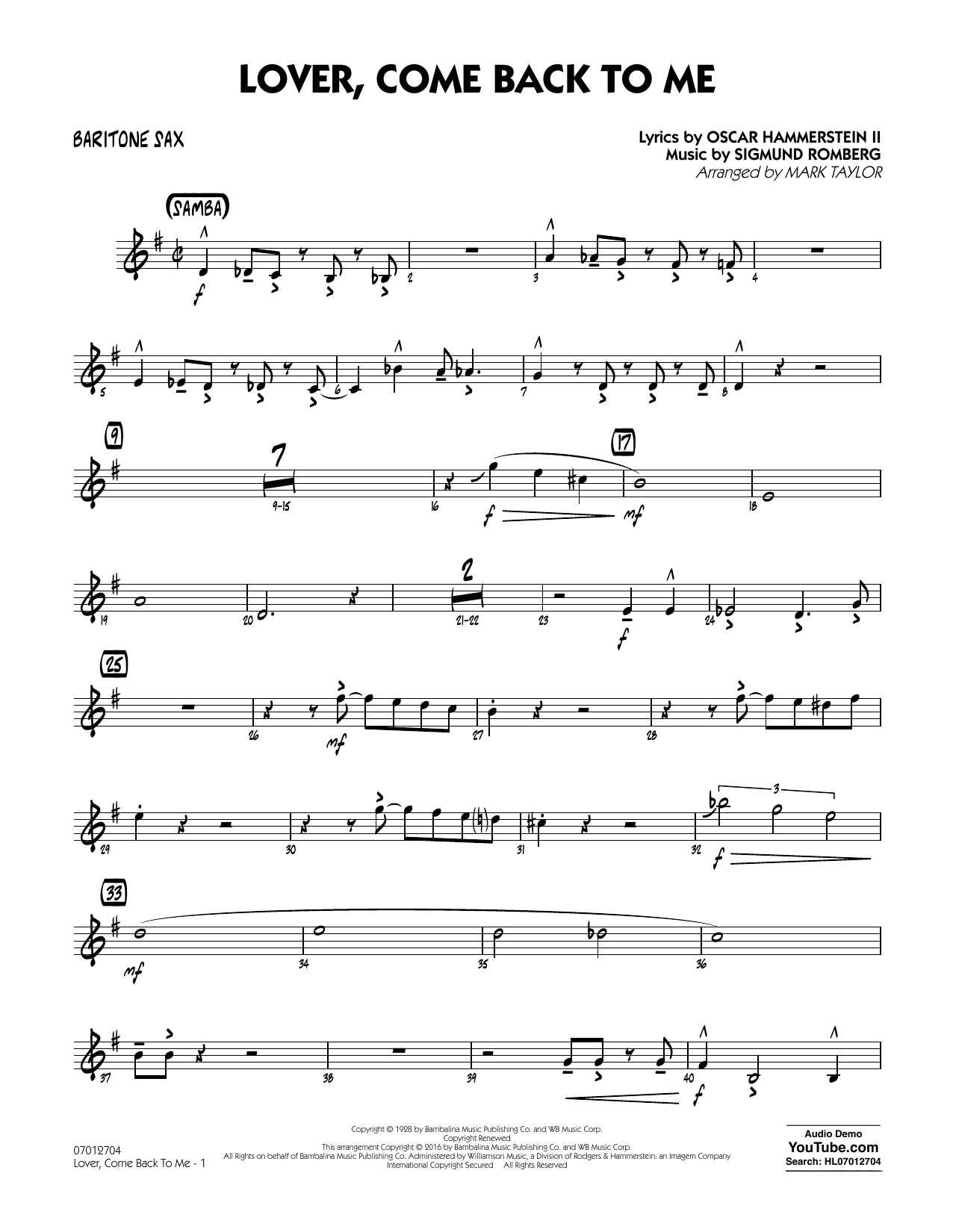Lover Come Back to Me (Key: B-Flat) - Baritone Sax