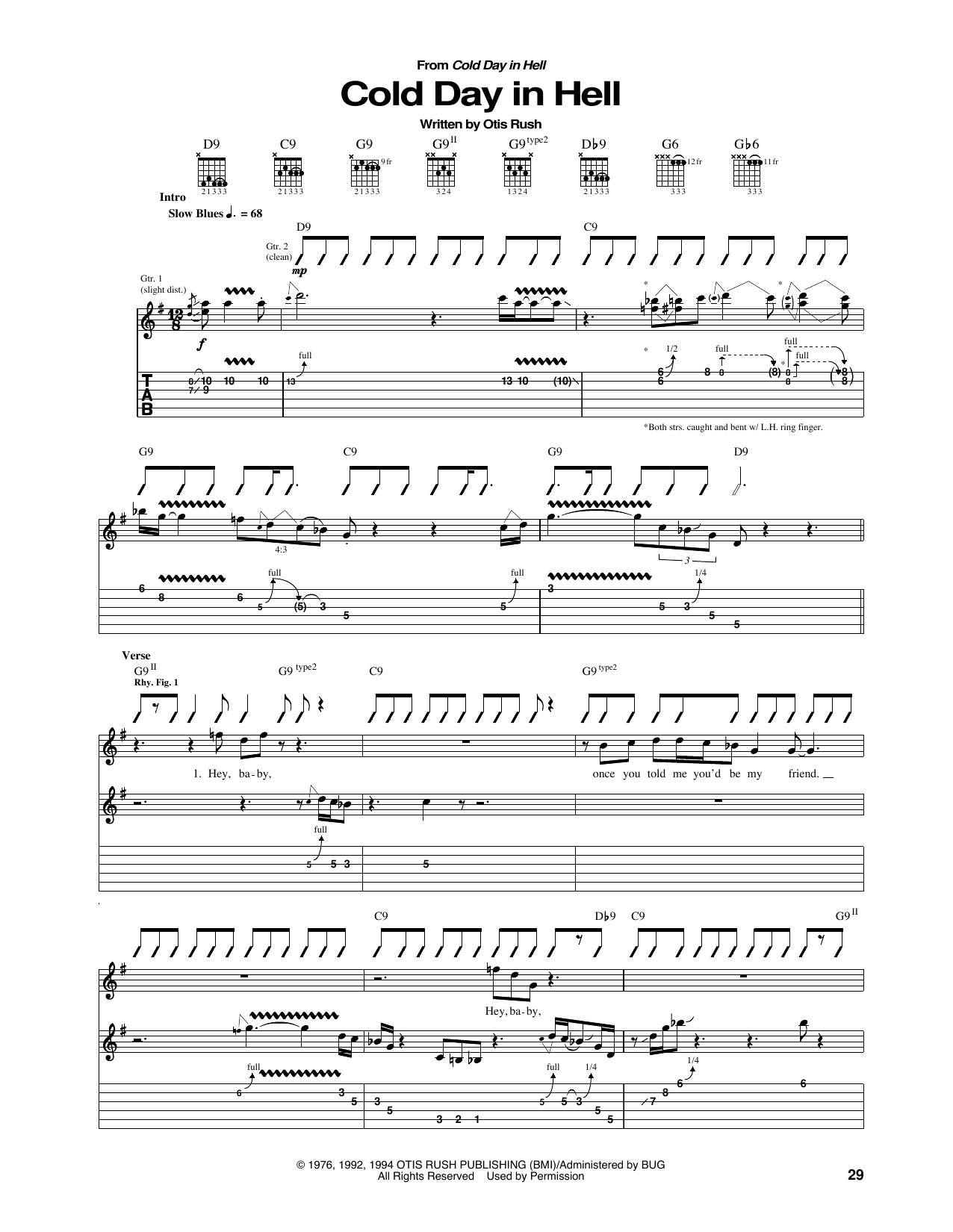 Tablature guitare Cold Day In Hell de Otis Rush - Tablature Guitare
