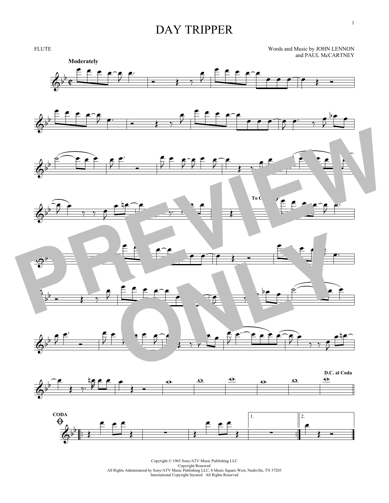 Partition flûte Day Tripper de The Beatles - Flute traversiere