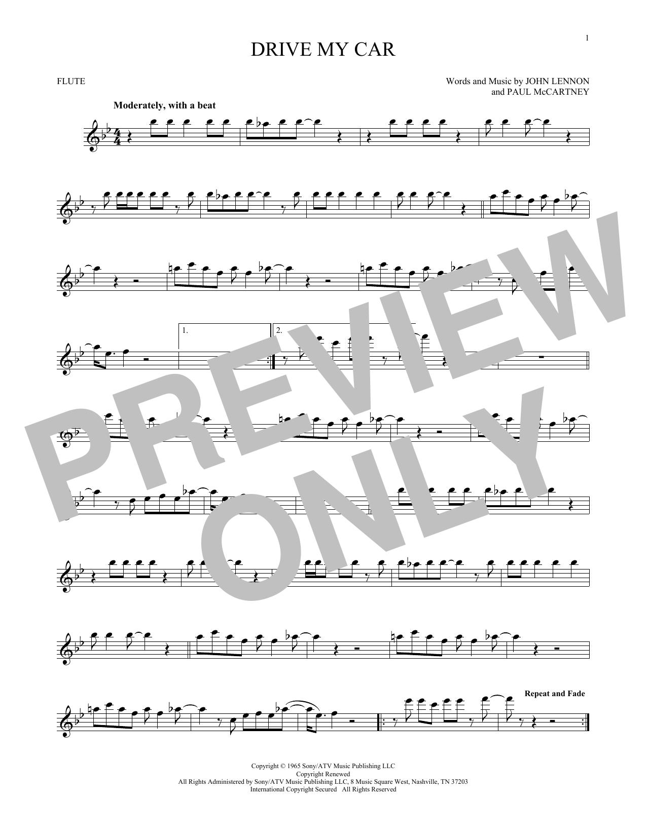 Partition flûte Drive My Car de The Beatles - Flute traversiere