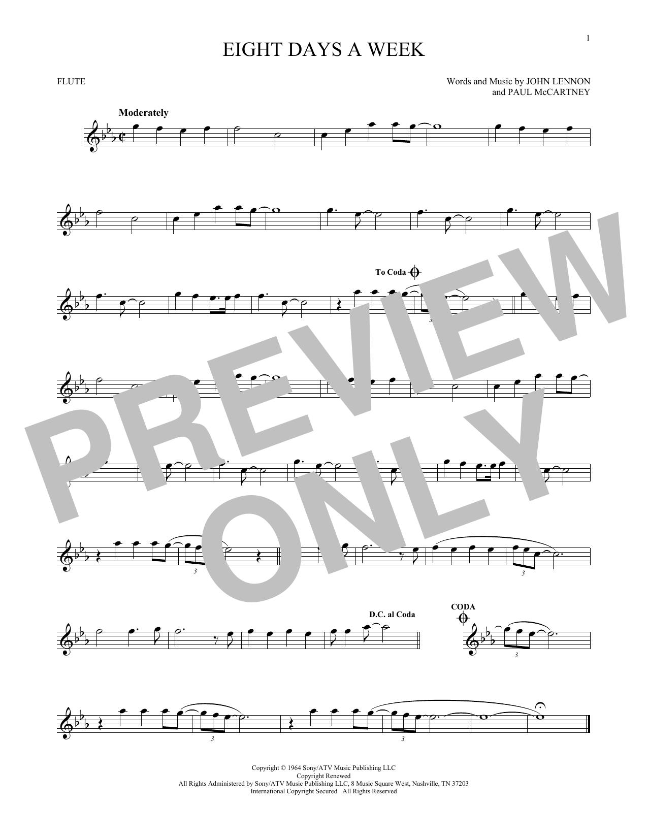 Partition flûte Eight Days A Week de The Beatles - Flute traversiere