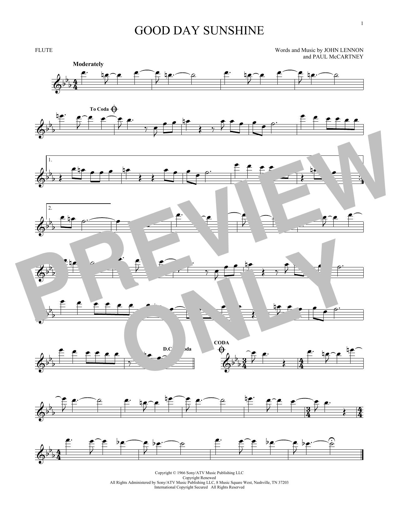 Partition flûte Good Day Sunshine de The Beatles - Flute traversiere