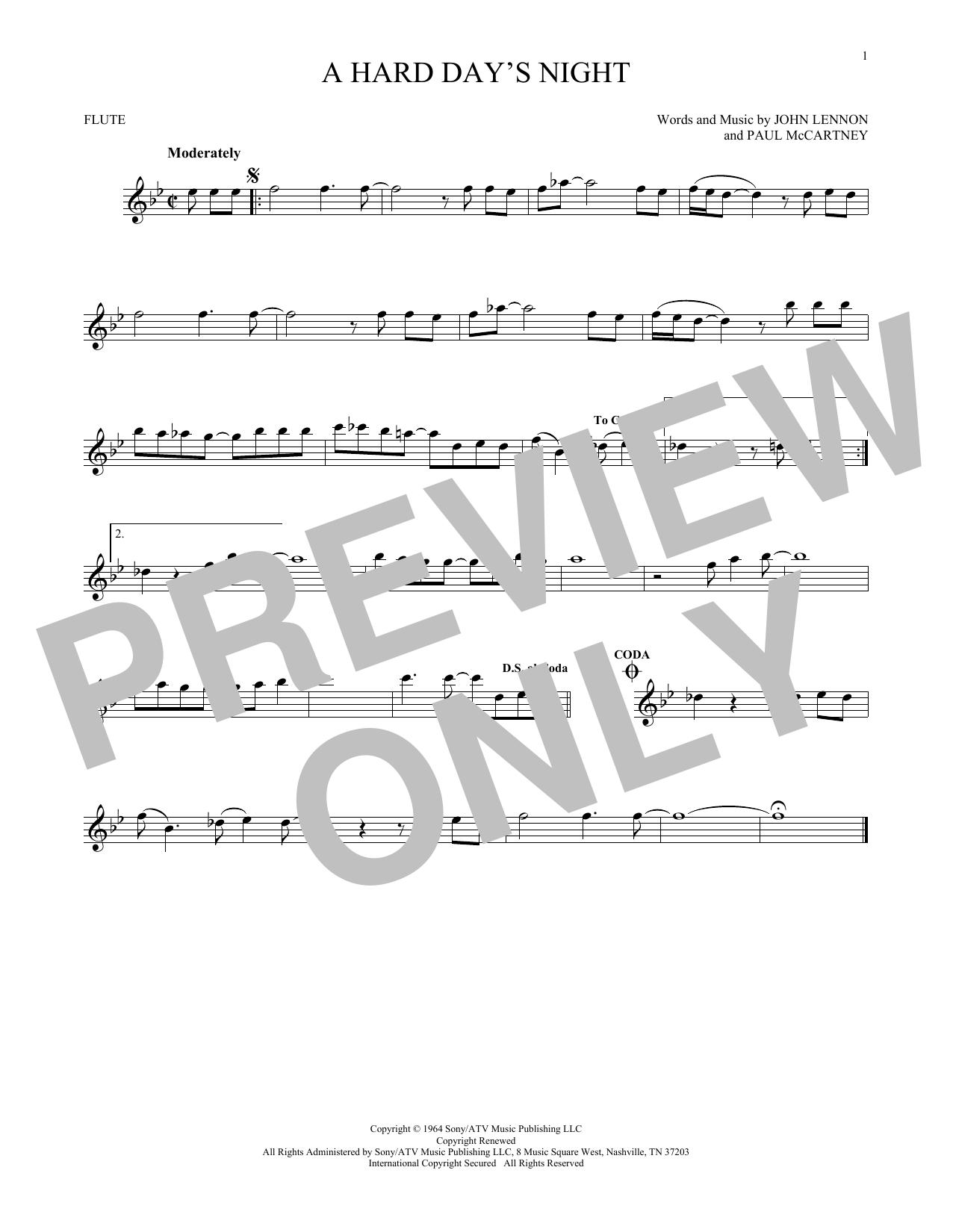 Partition flûte A Hard Day's Night de The Beatles - Flute traversiere